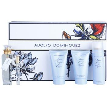 Adolfo Dominguez Agua Fresca de Rosas dárková sada VI. toaletní voda 120 ml + toaletní voda 10 ml + sprchový gel 150 ml + tělové mléko 150 ml + deodorant ve spreji 150 ml