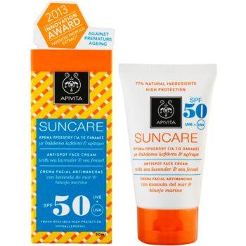 Apivita Sun Care Sea Lavender & Sea Fennel creme solar contra manchas de pigmentação SPF 50 1