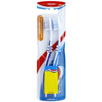 Aquafresh Clean & Flex periuta de dinti Medium 2 pc dark blue, blue