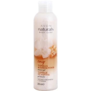 Avon Naturals Body gel de dus revigorant cu vanilie si lemn de santal  200 ml