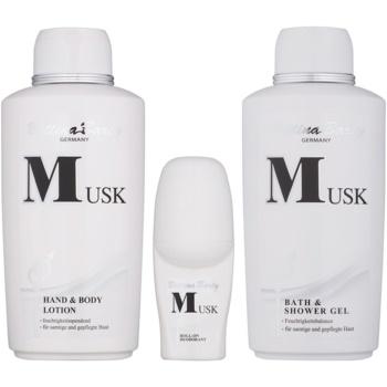 Bettina Barty Classic Musk set cadou I.  Lotiune de corp 500 ml + Gel de dus 500 ml + Deodorant roll-on 50 ml