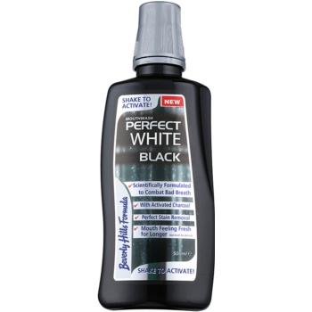 Beverly Hills Formula Perfect White Black Apa de gura pentru albire cu particule de carbon pentru o respiratie proaspata  500 ml