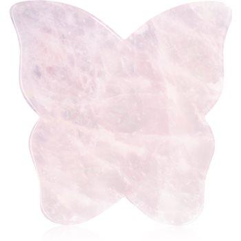 Crystallove Butterfly Rose Quartz Gua Sha Plate accesoriu de masaj poza noua