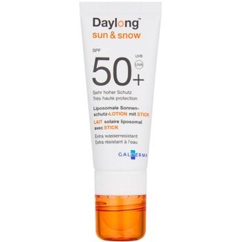Fotografie Daylong Sun & Snow lipozomální ochranný krém na obličej a balzám na rty 2 v 1 SPF 50+ 3 g + 20 ml