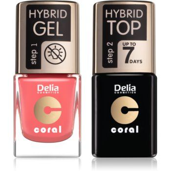 Delia Cosmetics Coral Nail Enamel Hybrid Gel set cosmetice pentru unghii