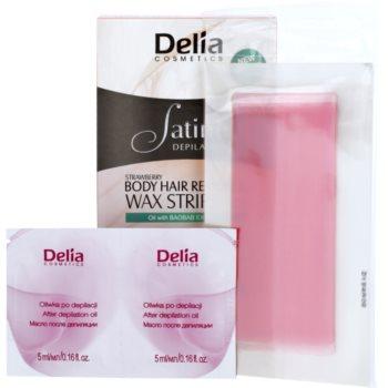 Delia Cosmetics Satine Depilation Strawberry szőrtelenítő gyantacsík testre 1