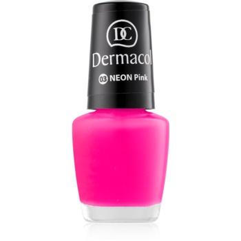 Dermacol Neon lac de unghii cu stralucire neon culoare 03 Pink 5 ml