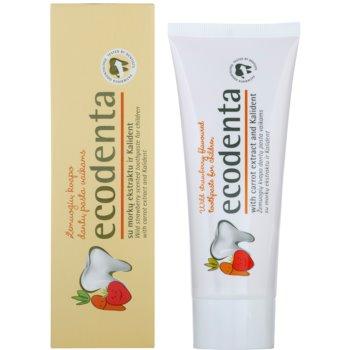 Ecodenta Kids pasta do zębów dla dzieci z aromatem dzikich truskawek i ekstrakt z marchwi 1