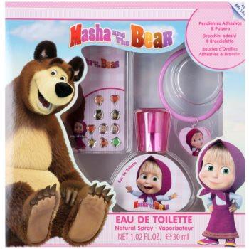 EP Line Masha and The Bear set cadou I.  Apa de Toaleta 30 ml + cercei autocolant + bratara