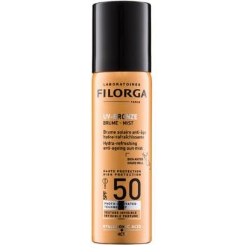 Fotografie Filorga Medi-Cosmetique UV Bronze ochranná hydratační a osvěžujicí mlha proti příznakům stárnutí pleti SPF50 60 ml