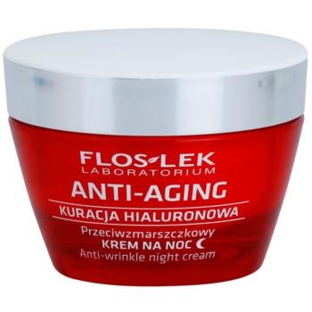 FlosLek Laboratorium Anti-Aging Hyaluronic Therapy нічний зволожуючий крем проти розтяжок та зморшок