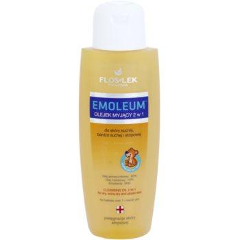 FlosLek Pharma Emoleum óleo de banho para peles sensíveis 2 em 1
