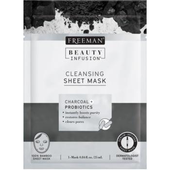 Freeman Beauty Infusion Charcoal + Probiotics mască textilă purificatoare, cu cărbune activ pentru toate tipurile de ten
