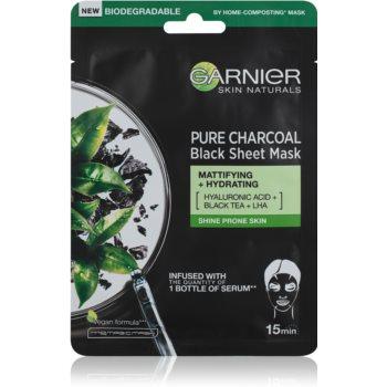 Garnier Skin Naturals Pure Charcoal  mască textilă neagră, cu extract din ceai negru  28 g