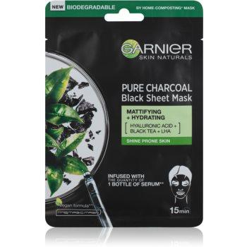 Garnier Skin Naturals Pure Charcoal mască textilă neagră, cu extract din ceai negru