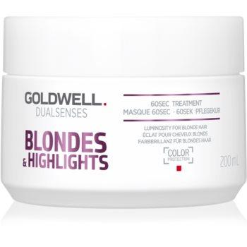 Goldwell Dualsenses Blondes & Highlights masca pentru regenerare neutralizeaza tonurile de galben imagine