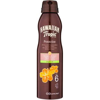 Fotografie Hawaiian Tropic Protective voděodolný ochranný suchý olej na opalování SPF 6 177 ml