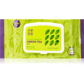 Holika Holika Pure Essence Mask Sheet Green Tea mască înviorătoare pentru dimineață cu extracte de ceai verde