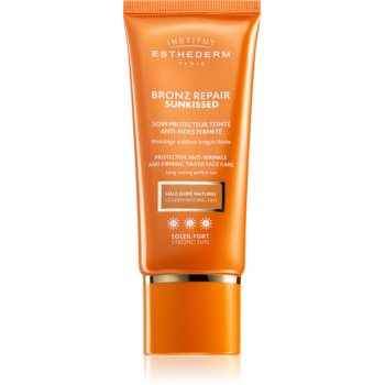 Institut Esthederm Bronz Repair Sunkissed Protective Anti-Wrinkle And Firming Tinted Face Care crema protectoare cu efect de tonifiere antirid imagine produs