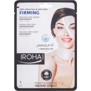 Iroha Firming Pearl mască din bumbac pentru față și gât, cu ser din perle și ser hialuronic