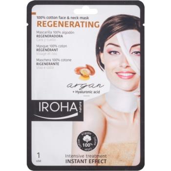 Iroha Regenerating Argan mască din bumbac pentru față și gât, cu ulei de argan și cu acid hialuronic