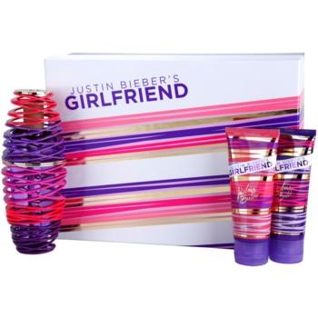 Justin Bieber Girlfriend dárková sada I. parfemovaná voda 100 ml + tělové mléko 100 ml + sprchový gel 100 ml