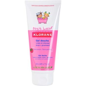 Fotografie Klorane Petit Junior sprchový gel na tělo a vlasy s vůní malin 200 ml