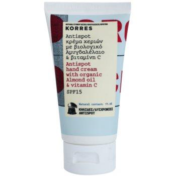 Korres Body Almond Oil & Vitamin C Handcreme gegen Pigment-Flecken SPF 15