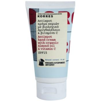 Korres Almond Oil & Vitamin C crema de maini impotriva petelor pigmentate SPF 15