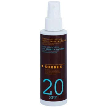 Korres Sun Care Walnut & Coconut Clear Non-Greasy Body Sunscreen SPF 20