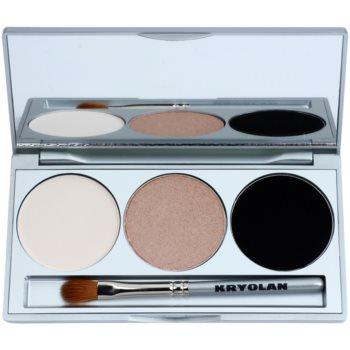 Fotografie Kryolan Basic Eyes paleta očních stínů se zrcátkem a aplikátorem odstín Smokey Sand 7,5 g