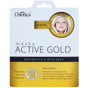 L'biotica Masks Active Gold hidrogél arcmaszk az élénk és kisimított arcbőrért