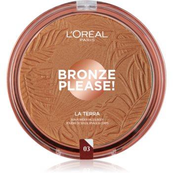 L'Oréal Paris Wake Up & Glow La Terra Bronze Please! bronzer și pudră pentru contur poza noua