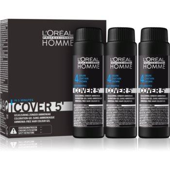 L'Oréal Professionnel Homme Cover 5' tónovací barva na vlasy 3 ks odstín 4 Medium Brown 3x50 ml