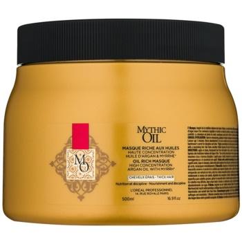 Fotografie L'Oréal Professionnel Mythic Oil vyživující maska pro husté a nepoddajné vlasy bez parabenů 500 ml
