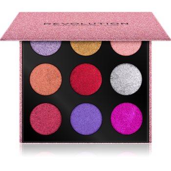 Makeup Revolution Pressed Glitter Palette paletă cu farduri cu sclipici poza noua
