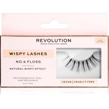 Makeup Revolution False Lashes Wispy Klebewimpern + Kleber 1 ml NO.5 Floss