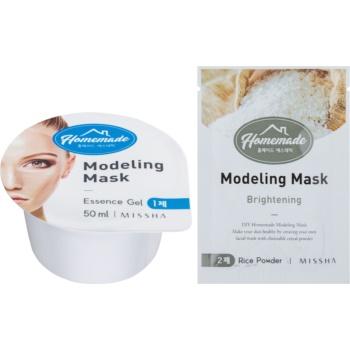 Fotografie Missha Homemade Rice Powder modelační pleťová maska s rozjasňujícím účinkem 5 g + 50 ml