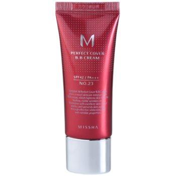 Fotografie Missha M Perfect Cover BB krém s velmi vysokou UV ochranou malé balení odstín No. 23 Natural Beige SPF 42/PA+++ 20 ml