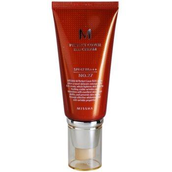 Fotografie Missha M Perfect Cover BB krém s vysokou UV ochranou odstín No. 27 Honey Beige SPF42/PA+++ 50 ml