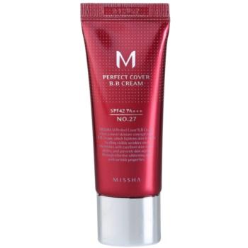 Fotografie Missha M Perfect Cover BB krém s velmi vysokou UV ochranou malé balení odstín No. 27 Honey Beige SPF 42/PA+++ 20 ml