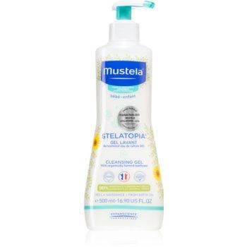 Mustela Bébé Stelatopia gel pentru spălarea și curățarea copiilor și a bebelușilor pentru piele uscata spre atopica