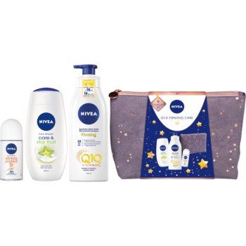 Nivea Q10 Care & Star Fruit jemný sprchový gel 250 ml + Q10 + Vitamin C zpevňující tělové mléko 400 ml + Stress Protect kuličkový antiperspirant 50 ml + kosmetická taška dámská malá