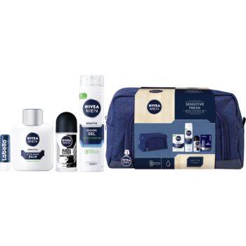 Nivea Men balzám po holení 100 ml + gel na holení 200 ml + kuličkový antiperspirant 50 ml + balzám na rty 4,8 g + kosmetická taška
