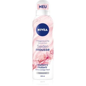 Nivea Silk Mousse Raspberry Rhubarb spumă de duș pentru îngrijire