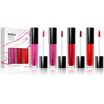 NOBEA Colourful set de luciu de buze cu efect de vinil 4 x 7 ml