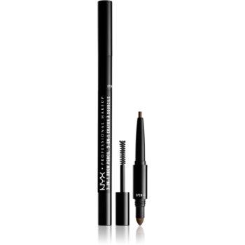 NYX Professional Makeup 3-In-1 Brow Pencil produs multifuncțional pentru sprâncene