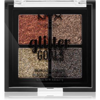 NYX Professional Makeup Glitter Goals paletă cu farduri cu sclipici pachet mic