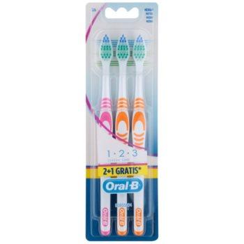 Oral B 1-2-3 Classic Care periuta de dinti Medium 3 pc Pink & Orange & Orange