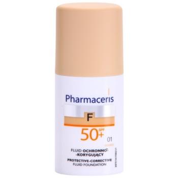 Pharmaceris F-Fluid Foundation capac de protectie pentru machiaj SPF 50+ culoare 01 Ivory  30 ml